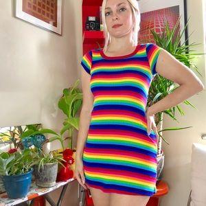 Vintage style rainbow striped micro mini dress xxs